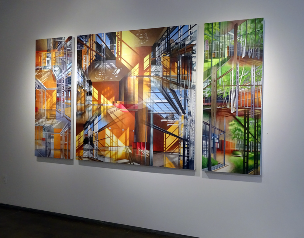 "Shadows & Reflections , 2018, Acrylic on linen, 24 x 60"", 60 x 60"", 24 x 60""  Installation shot at the Denise Bibro Gallery."