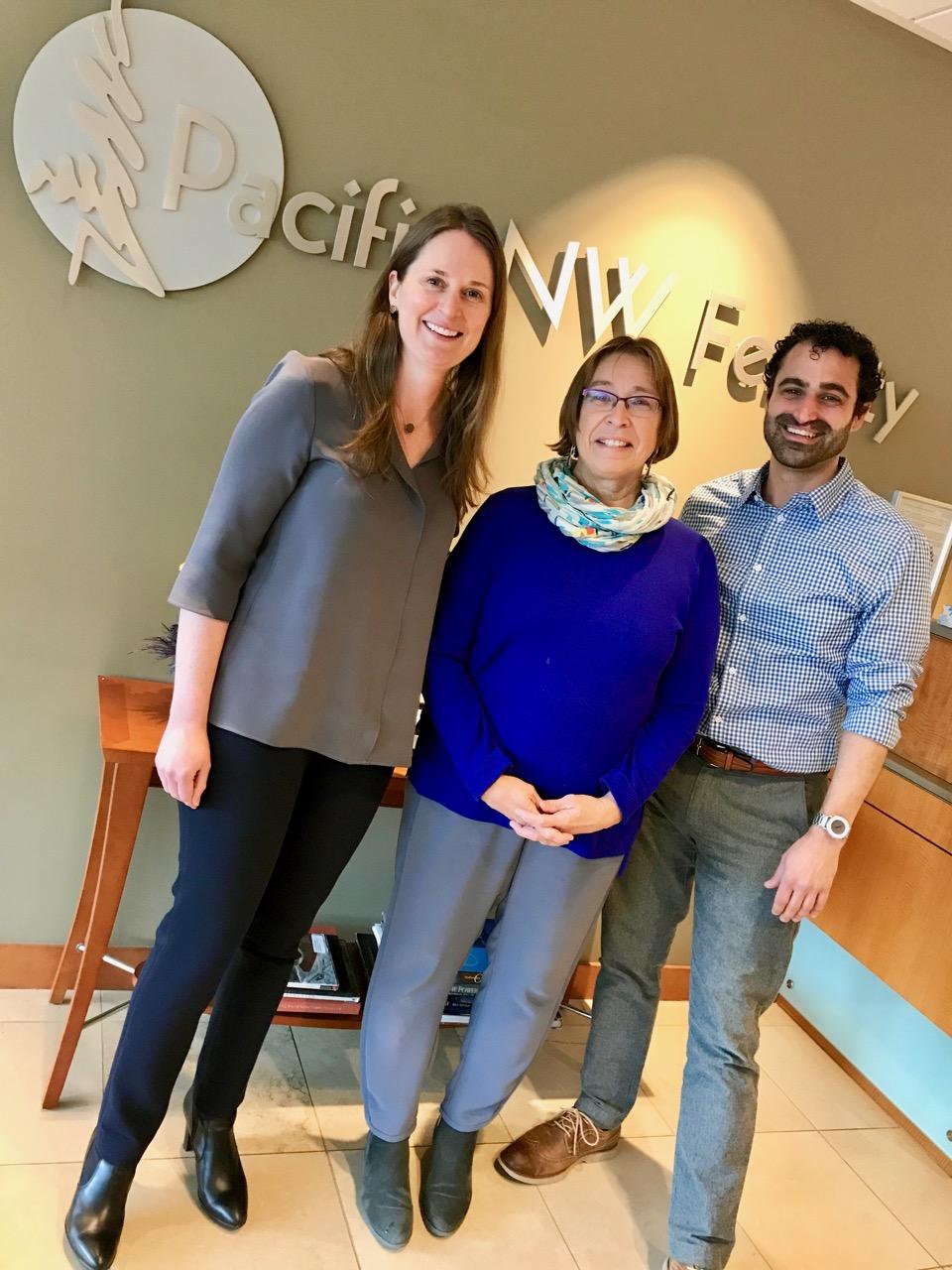 From Left: Dr. Lora Shahine, Dr. Lorna Marshall, Steven Mavros, L.OM.