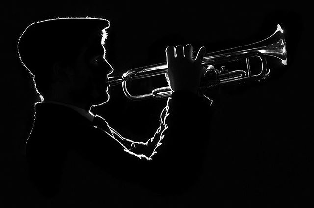 An amazing shot of George by @giuseppe_cerone. It's currently the cover of our #jazz #ep. #trumpet #bw #headshot #beautiful #model #vintage #cool #artyfarty