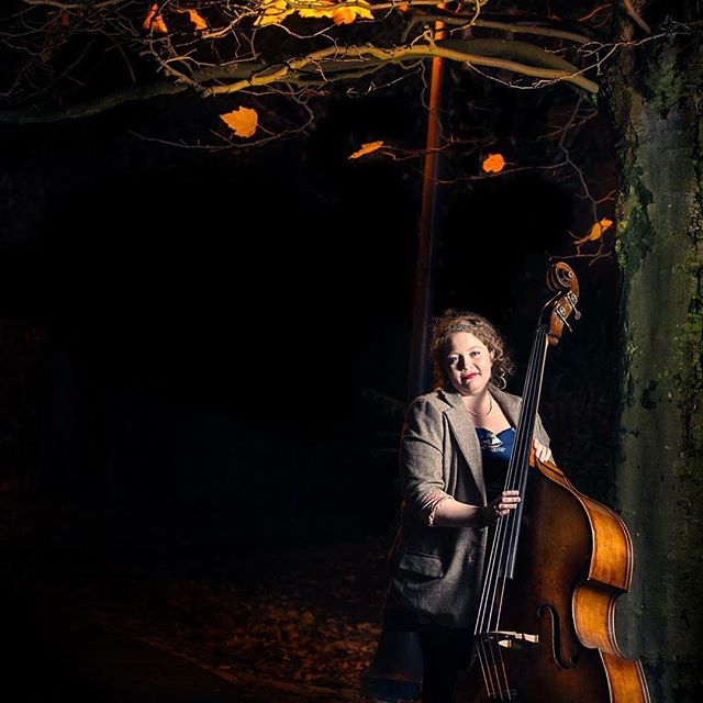 Sophie, our #bassist, with her snazzy #homemade #OOTD. #music #jazzmusic #bass #model #beautifullight #nighttime #autumn #autumnleaves #tree #orange #canal #functionband #weddingband #portrait #shotoftheday