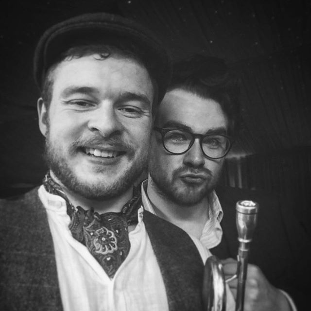 Our vintage horns, George and Dan, feeling fabulous #trumpet #clarinet #sax #jazz #liverpool #pout #menwithbeards #glasses #bw #monochromatix