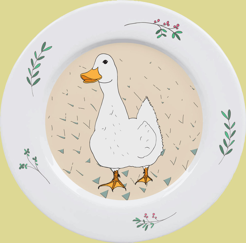 Myrtle the Duck   ©Rebecca Gerendasy Design for a set of small decorative plates.