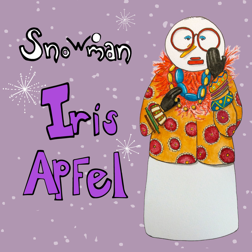 Snowoman Iris Apfel    ©Rebecca Gerendasy  Design for soft sculpture, ornament, or a cookie jar.