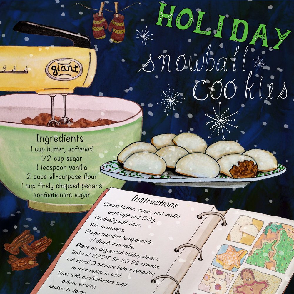 Holiday Snowball Cookies Recipe   ©Rebecca Gerendasy Original artwork was designed for a 2-page layout.