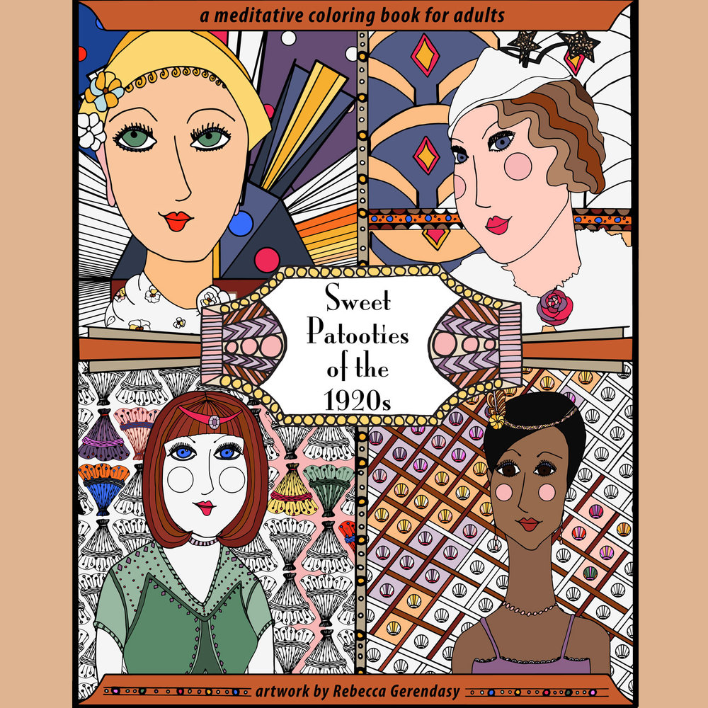 Sweet Patooties of the 1920s   ©Rebecca Gerendasy Cover for a coloring book.