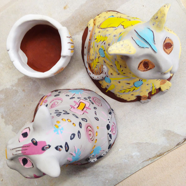 Both cats fully decorated with underglazes. Calypso (L) and Ginger (R)