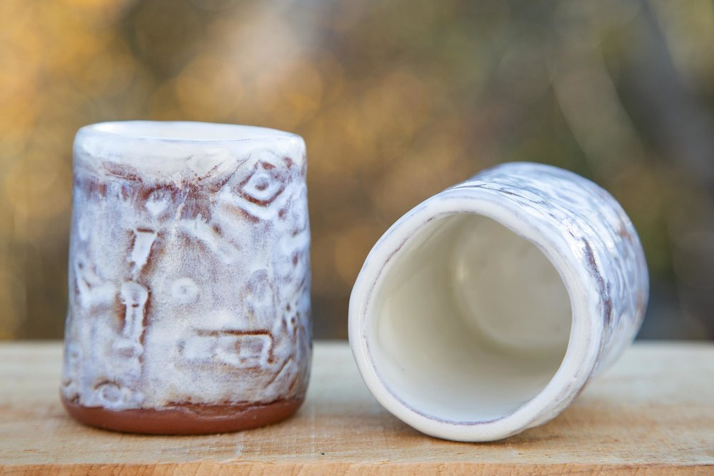 Hieroglyphic Whiskey Cups - Dusty White
