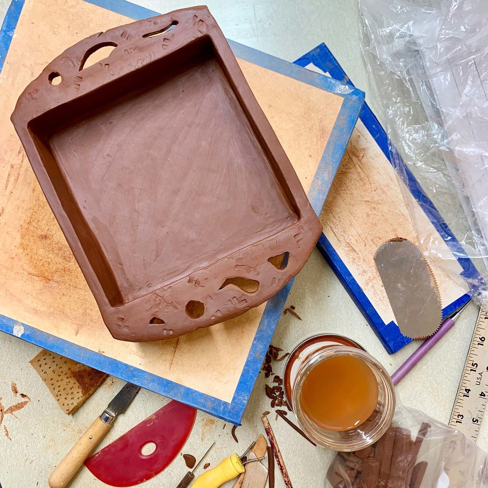 Whiskey Trays -  Hand built whiskey tray in its greenware state