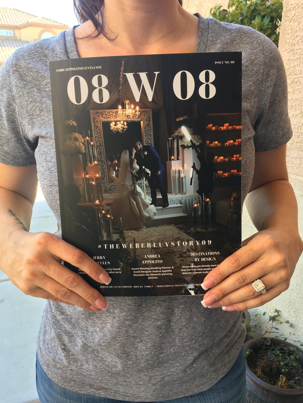 Jennifer Weber holding her LUXE Edition of The Wedding Editorialist. Created b y Las Vegas Wedding Planner Andrea Eppolito.
