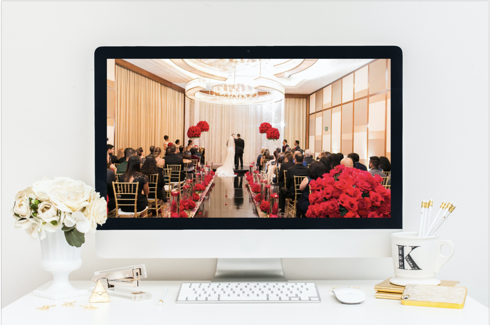 Red and Black Wedding Ceremony at the Mandarin Oriental Las Vegas.    Designed by  Wedding Planner Andrea Eppolito  with photos by J.Anne Photography.