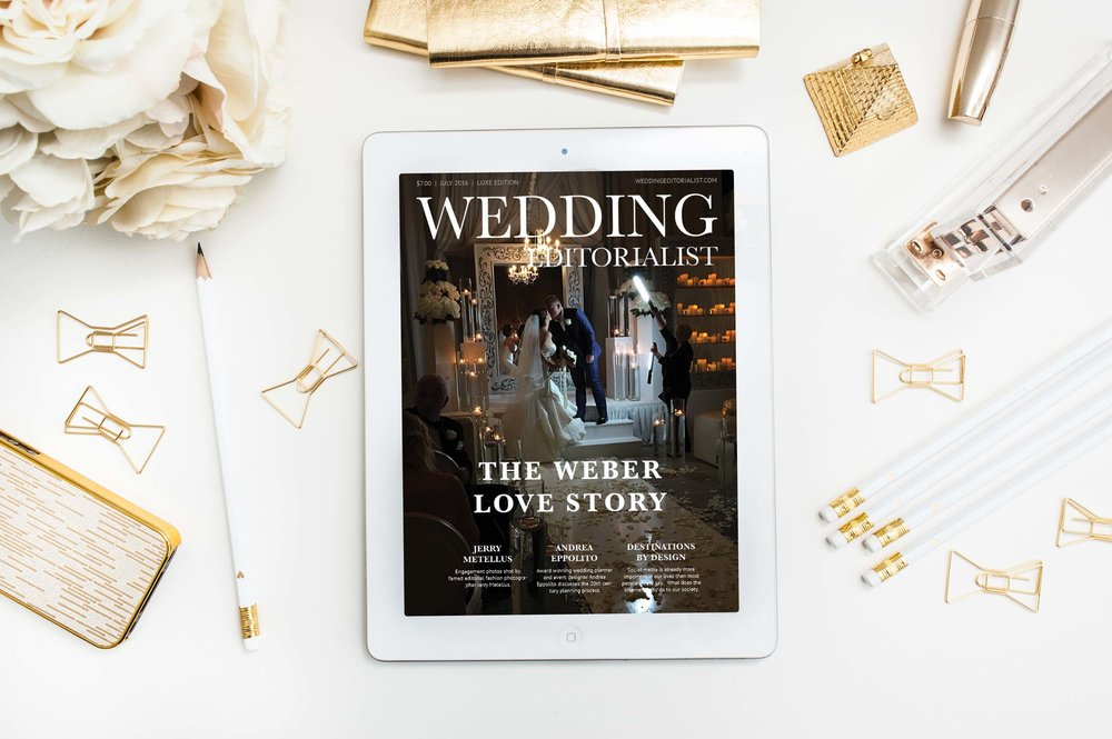 Cover of digital wedding magazine on iPad.