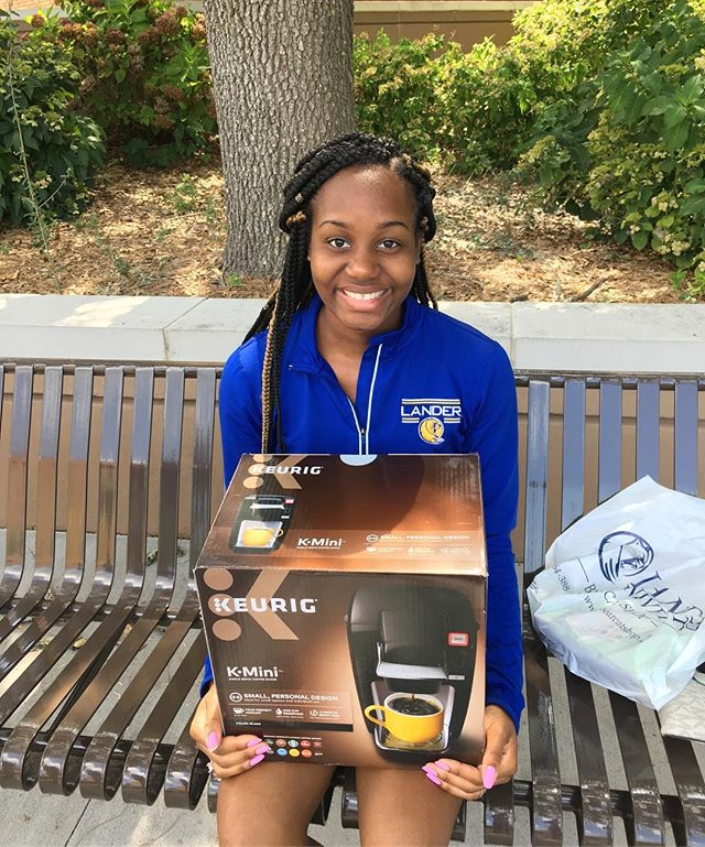 Congrats Destiny in winning the Keurig for your dorm. We hope you enjoy all the hot chocolate and tea your heart desires!