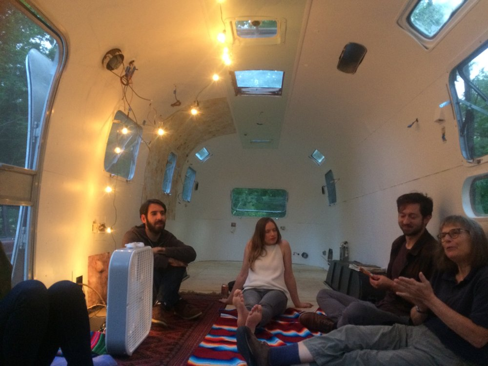 First Portland Radio Club meeting in the unfinished, but floored, Airstream!
