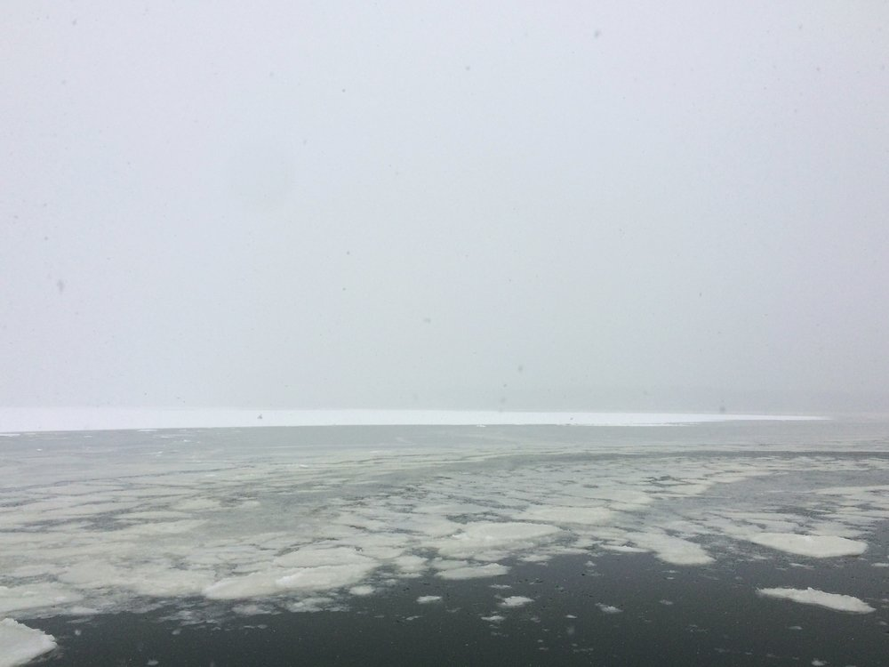 The ferry to Chebeague Island contends with icy waters, due to an unusually cold winter in Maine this year.