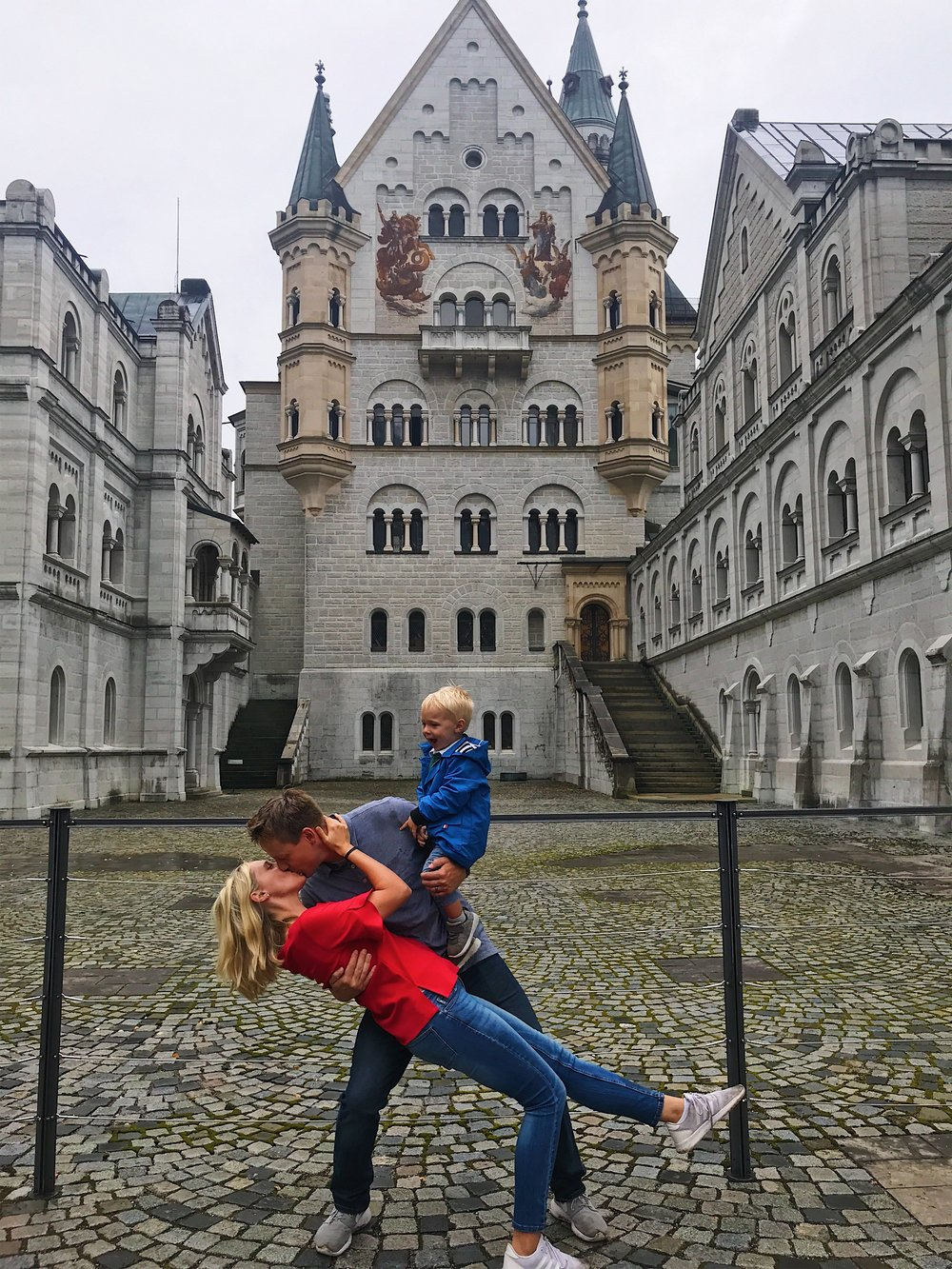 Alex holding the family together at Neuschwanstein Castle.