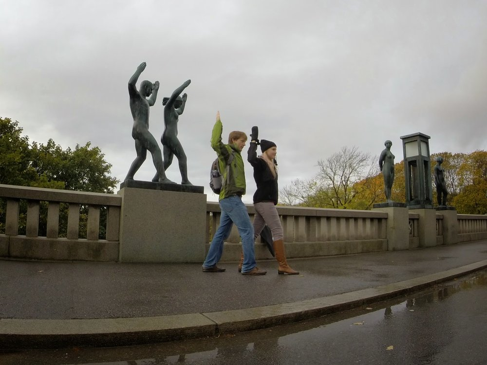 life imitating art at frogner park in oslo norway.