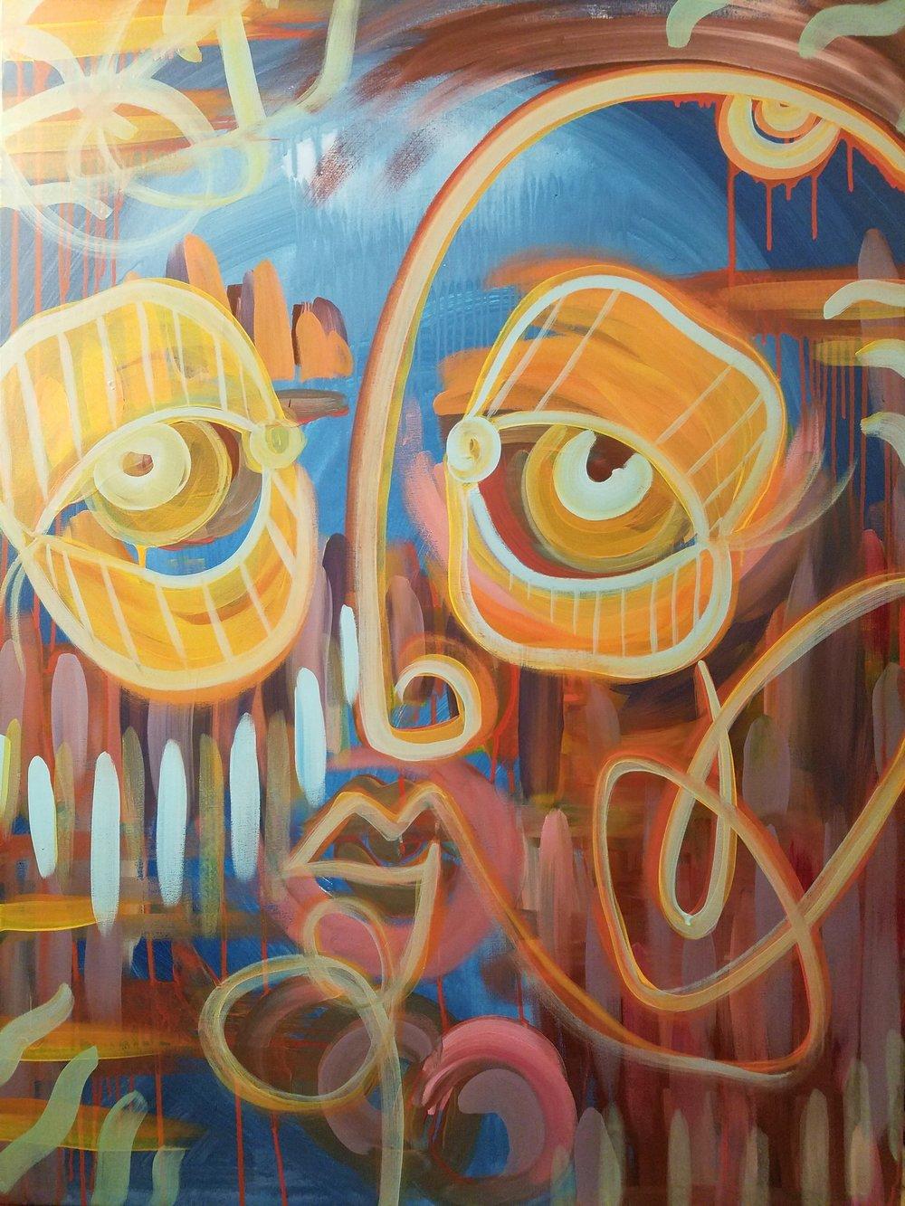 "Untitled 26x48"" Acrylic paint on canvas 2017"