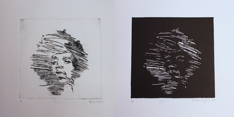 """Untitled, 5x5"""" Cardboard intaglio and relief print, 2015"""