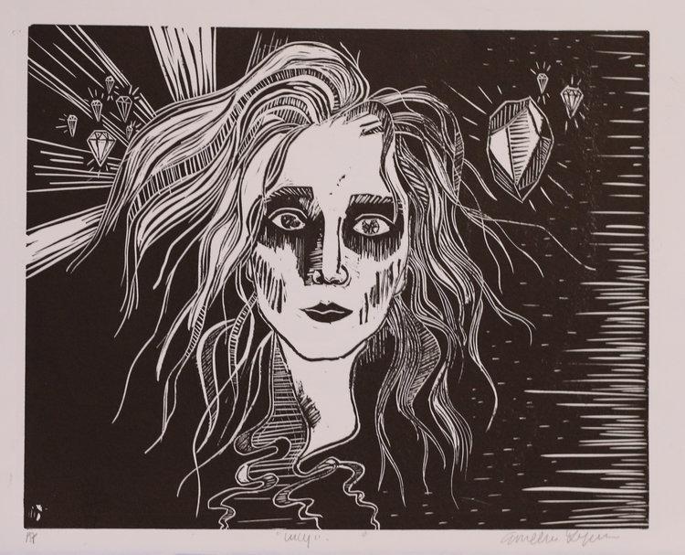 "Untitled, 9x12"" Linoleum relief print, 2015"