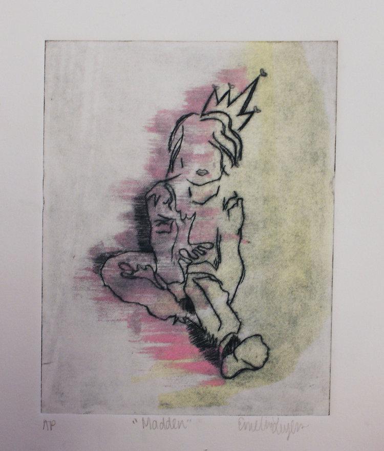 """Madden, 5x7"""" Intaglio and mono print, 2015"""