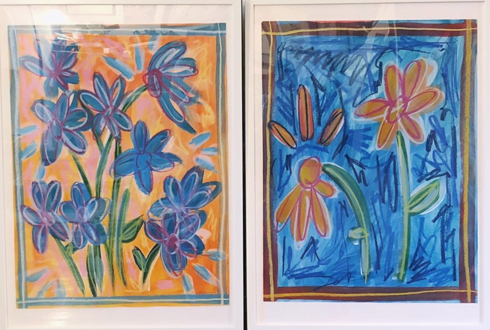 "Untitled Diptych 18x24"" each, Acrylic paint and oil pastel on paper 2018"