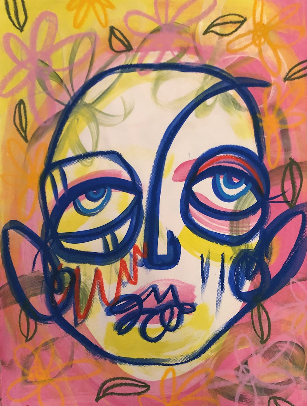 "Untitled 14x18"" Acrylic paint and oil pastel on paper 2018"