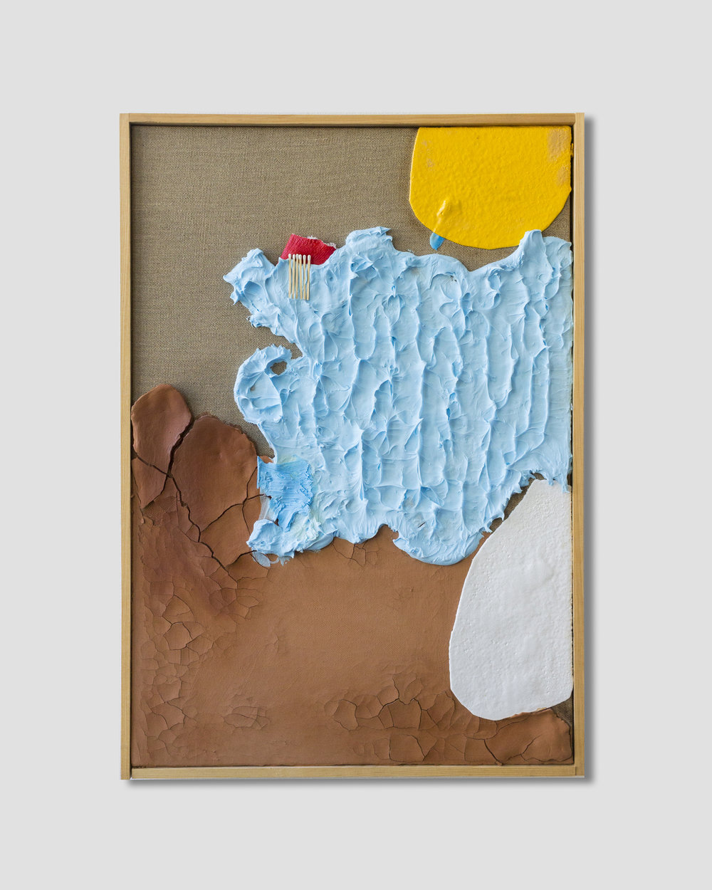 Today Is A Blessing,    Oil, acrylic, natural red clay, thermosplastic, rubber glove and collaged matches on linen,   30 in x 21 in, (76 cm x 54 cm)