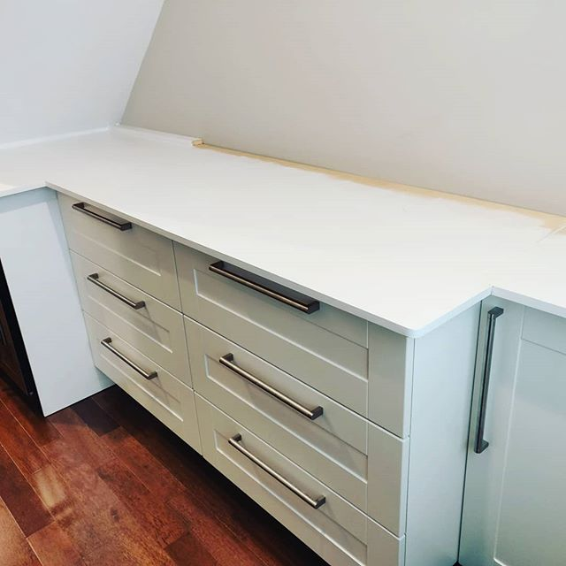 #inprogress my current build: an under-stair built-in closet and countertop. Next stage are shelves on the wall above. #diyoung #ikea #cabinets #whiteonwhite woodwork