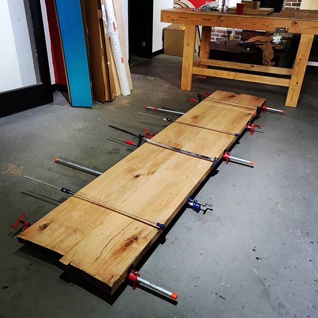 These table tops are (literally) coming together. #reverseorder #diyoung #woodworking #brooklyn #oak