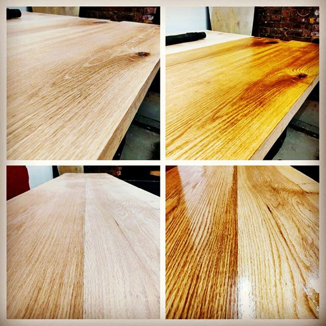 Finish him! #beforeandafter #linseedoil #diyoung #bhtables #oak #woodworking #tabletop