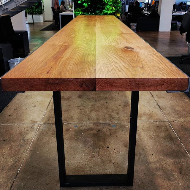 Delivered. #bhtables #diyoung #woodwork #metalwork #customfurniture #oak #steel #officefurniture #standingtable #table @tosefjaylor
