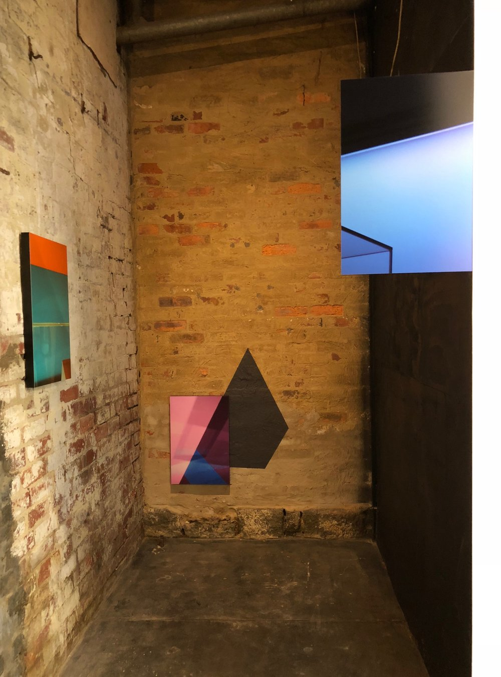 FRAGMENTS INSTALLATION VIEW  Left to right:    Pyramids I (I saw you there)      Pyramids II (I left you there)      An echo    2018  C-type prints  each 60 x 40cm