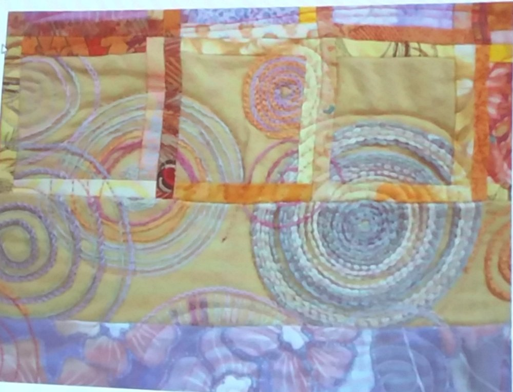 Close up of circles on Baskets quilt -