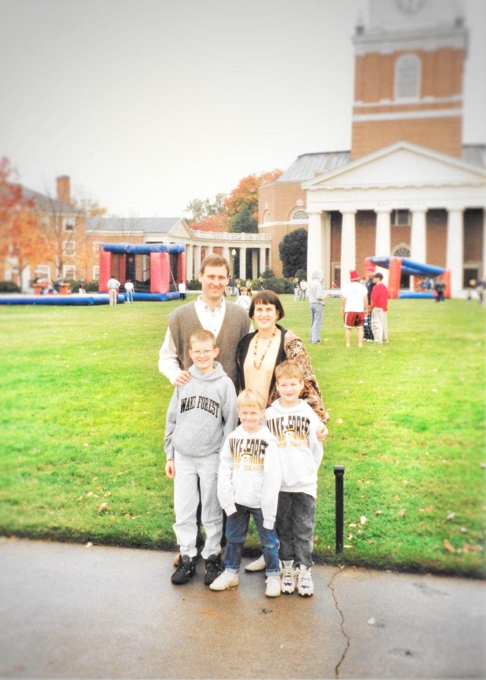 Family on the Wake Forest quad before a game