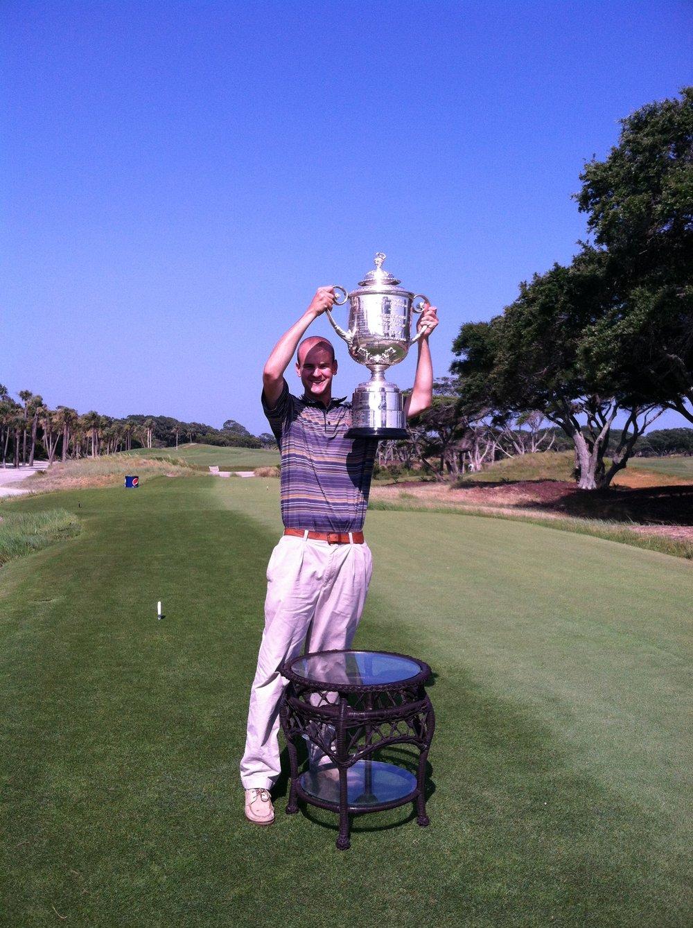 Hoisting the Wanamaker Trophy