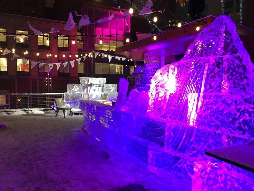 Viking ship ice sculpture bar