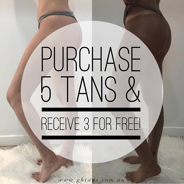 PROMO of the month✨ Purchase 5 tans and receive 3 for FREE 😱💰👏🏽 . . For further enquiries please DM or TXT us on 0401 248 615 📲 *conditions apply | offer expires 31st August 2018 #GBTANS #PROMOOFTHEMONTH