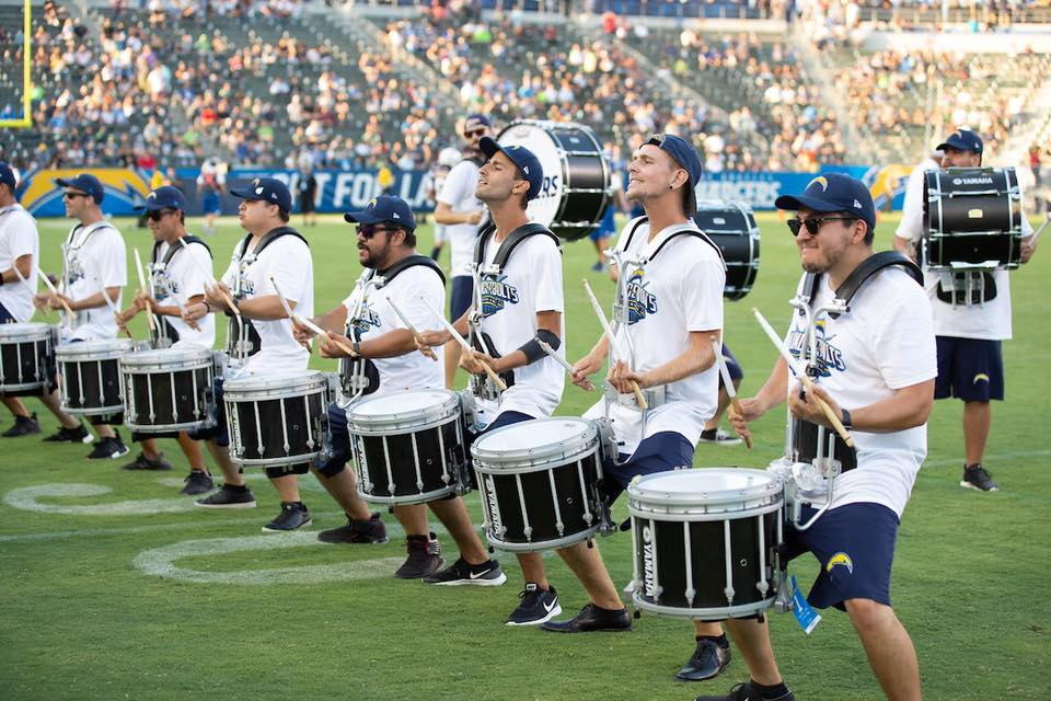 Chargers Thunderbolt Drumline performing at a 2018 home game. PC: LA Chargers