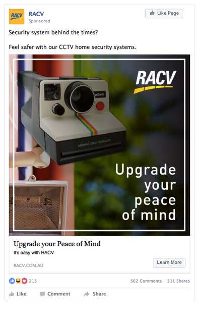RACV- Developed creative strategy on direct e-commerce series of Facebook photo posts.