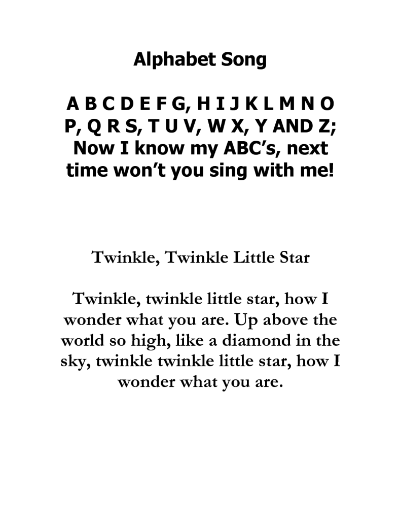alphabet twinkle twinkle little star