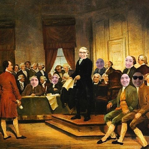 The #grind don't stop for CV Exec! Here's an actual image of your fearless leaders rewriting the CV Constitution this morning!