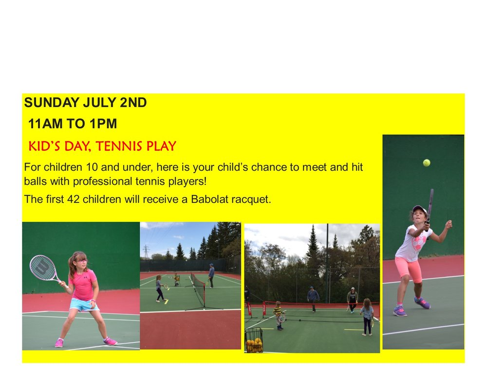 On Sunday July 2nd, Canadian Olympian Brian Gyetko will be hosting a Kid's Day, Tennis Play at our club from 11am to 1pm.  For children 10 and under, here is a child's chance to meet and hit balls with professional tennis players!  The first 42 children will receive a Babolat racquet. Whether you receive a raquet or not, you still get to play tennis with a pro! And all children receive a free hotdog and drink. For more information contact the club at 306 242-5584, email us at info@saskatoonriverside.com or come on by! 645 Spadina Cresent West (near the farmers market)