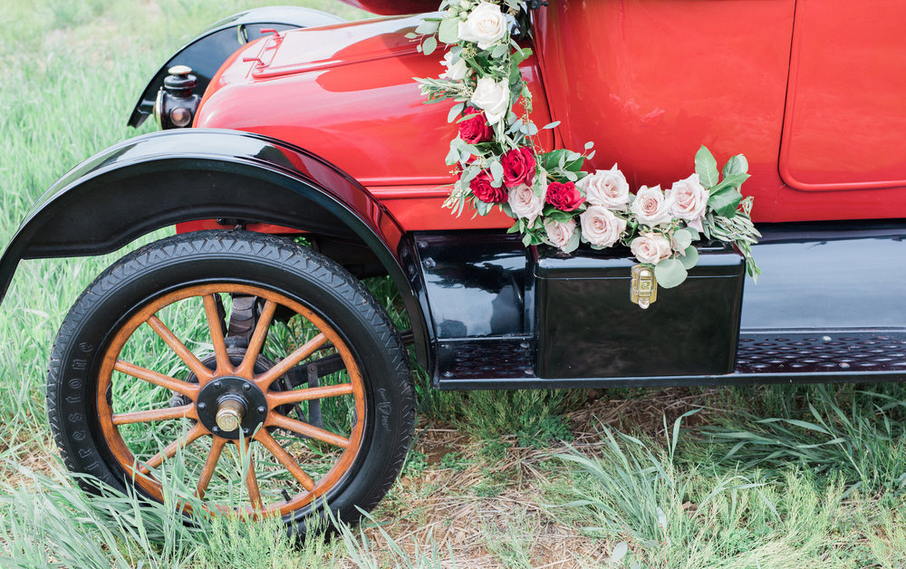 Rose garland 1915 Model T wedding car by Love & Luster Floral Design