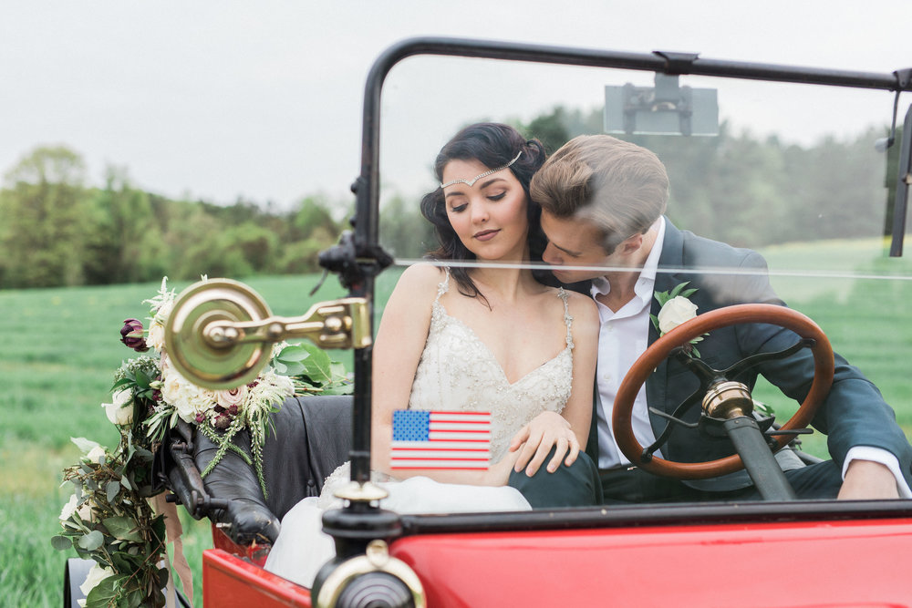 Rose garland on 1915 Model T by Love & Luster Floral Design