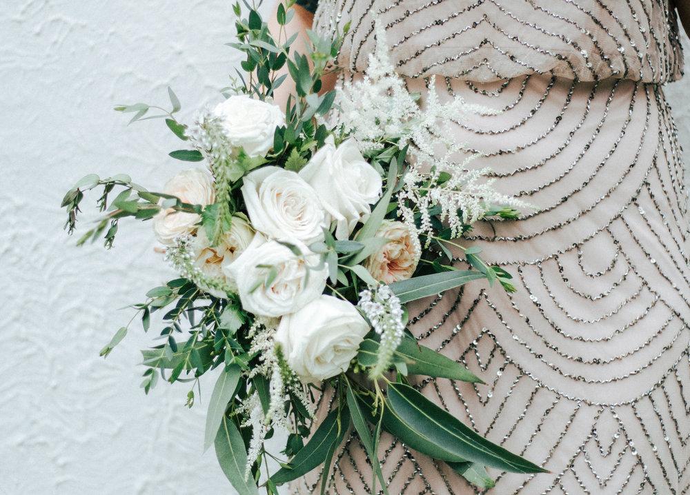 Love & Luster Floral Design Blush Garden Roses, Astilbe, Eucalyptus