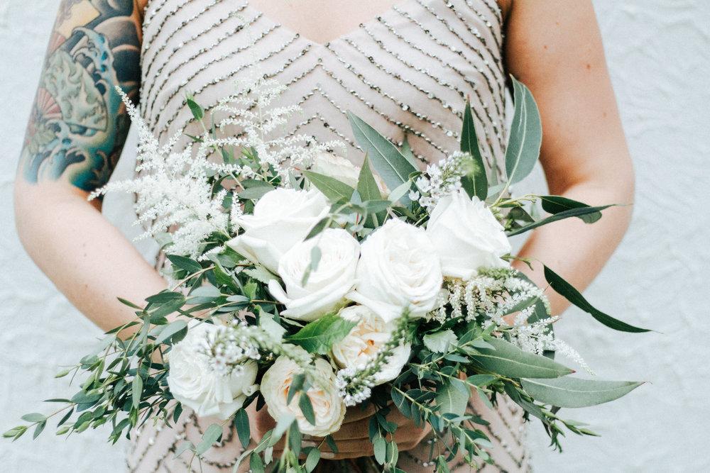 Love & Luster Floral Design Blush Garden Roses, Astilbe, Eucalyptus Bridal Bouquet