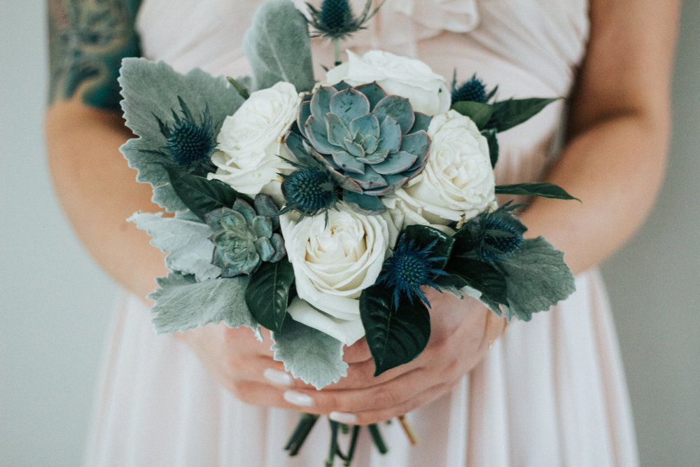 Love & Luster Floral Design Succulent Bridal Bouquet with Dusty Miller and Blue Thistle