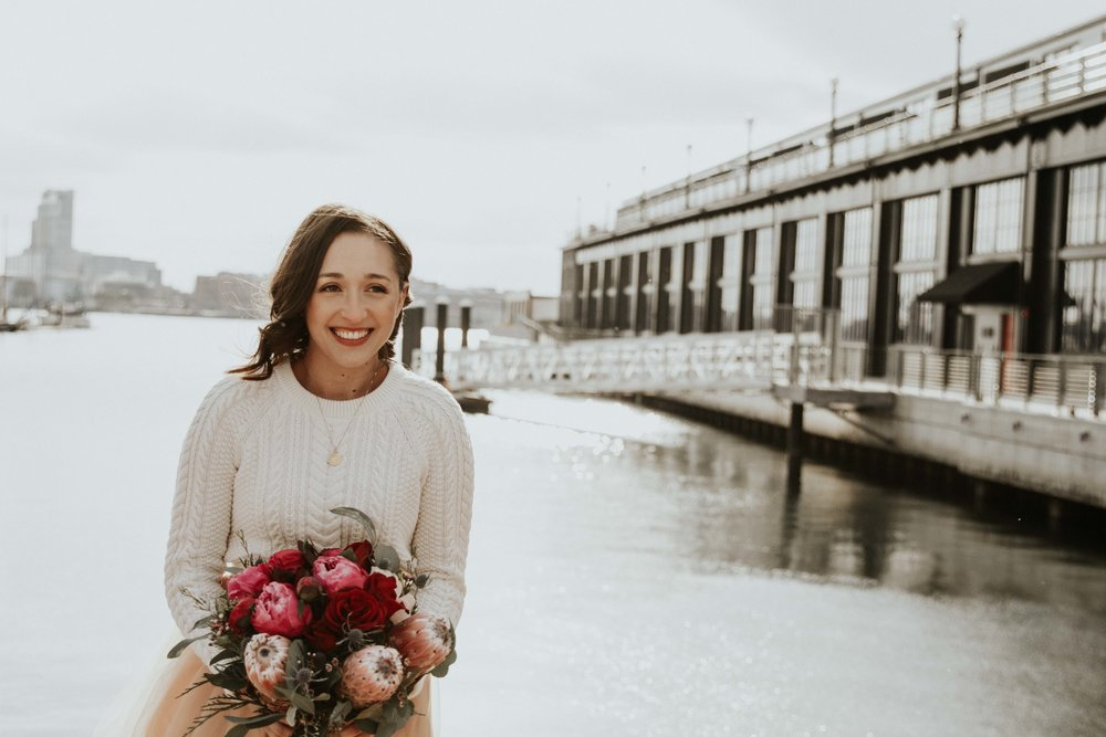 Peony, protea and rose burgundy and blush bridal bouquet by Love & Luster Floral Design