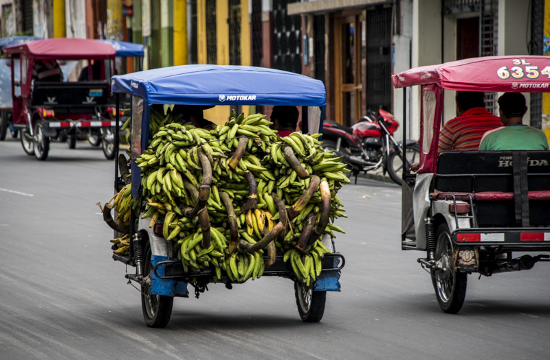 Mototaxis carry everything from people to bananas.