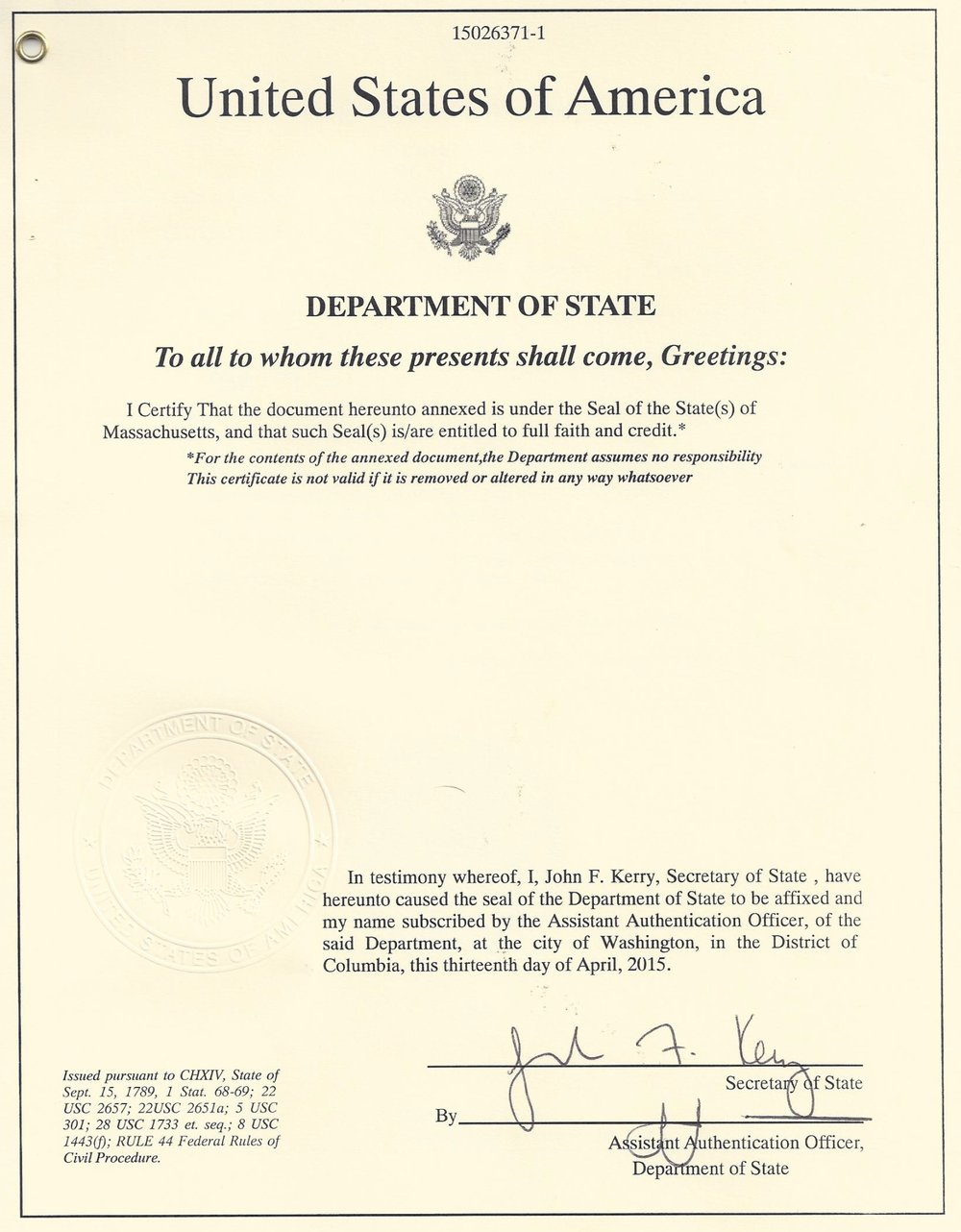 Apostille from State Department